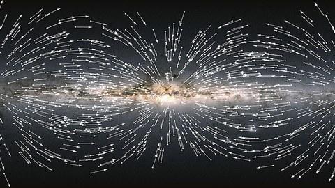 Das Bild zeigt die scheinbare Bewegung von 1000 zufällig gewählten Quasaren. Für jeden Quasar gibt ein Pfeil die durch die Beschleunigung unseres Sonnensystems bewirkte Richtung dieser Bewegung an. Alle Pfeile scheinen dabei auf einen Punkt etwas unterhalb und rechts des in der Bildmitte liegenden galaktischen Zentrums zu zeigen. Den Bildhintergrund bildet eine farbige Darstellung unserer Galaxie, erzeugt aus den nun im Gaia EDR3-Katalog veröffentlichten Daten.