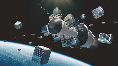 Die Kleinsatelliten, darunter SOMP2b, werden von der Falcon-9-Rakete im All ausgesetzt.