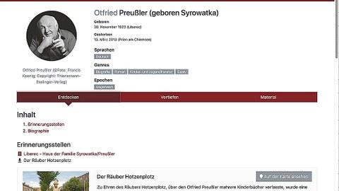 Screenshot des Eintrags zu Otfried Preußler auf www.lis-map.eu.