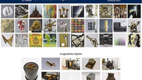 Screenshot von verschiedenen Objekten aus der Präsentation der Universitätssammungen im Netz.