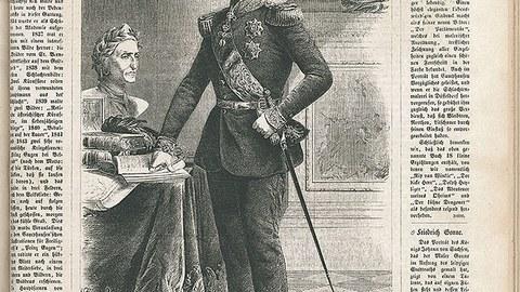 König Johann von Sachsen steht in Uniform an einem Tisch mit Dokumenten.
