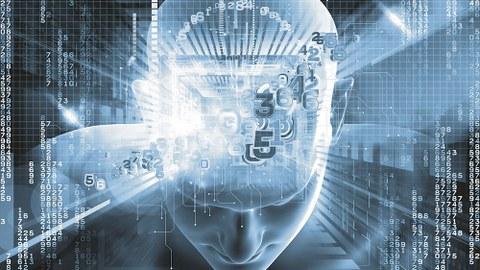Auf dem Bild sieht man eine abstrakte Darstellung eines menschlichen Kopfes. Dieser wird überlagert von vielen Ziffern in unterschiedlicher Reihenfolge. Auch neben dem Kopf sind Ziffern in vertikalten Reihen und unterschiedlicher Reihenfolge angeordnet.