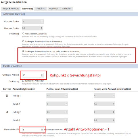 Screenshot: Settings for implementing the Model Regulations on Conducting and Evaluating Multiple Choice Exams in ONYX