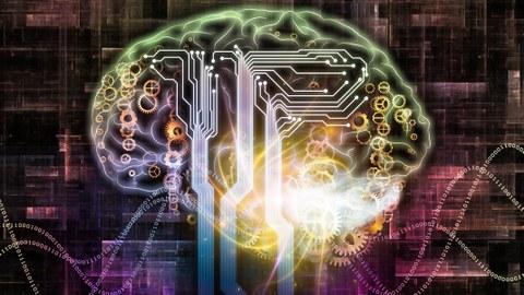 Visualisierung Gehirn mit digitalen Schaltstellen