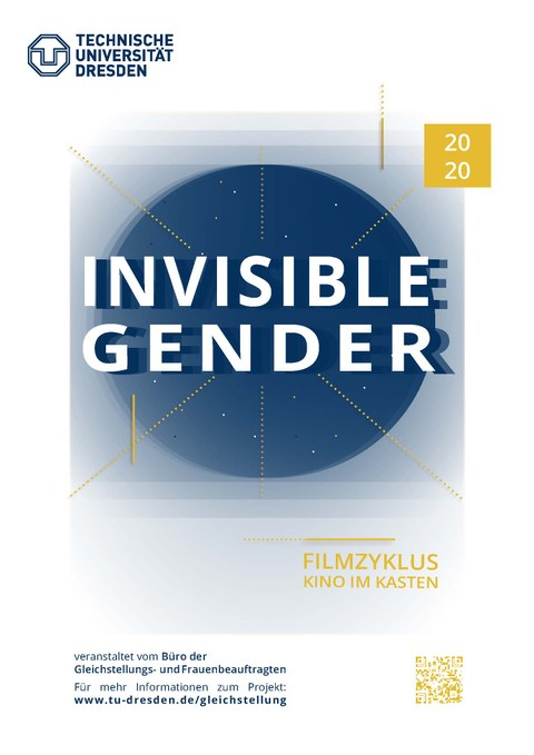 Plakat mit großem blauen Kreis mit der Aufschrift Invisible Gender 2020 Filmzyklus Kino im Kasten