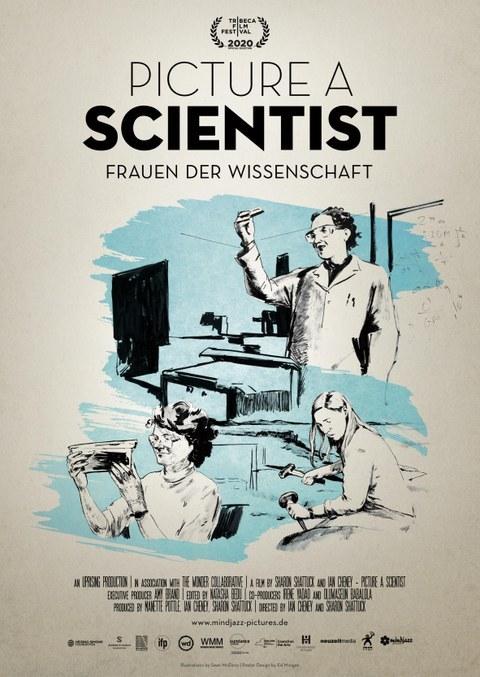Aufschrift Frauen der Wissenschaft - abgebildet sind 3 Frauen bei verschiedenen Tätigkeiten
