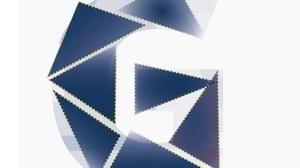 Buchstabe G bestehend aus mehreren blauen Dreiecken als Symbol für Gleichstellung