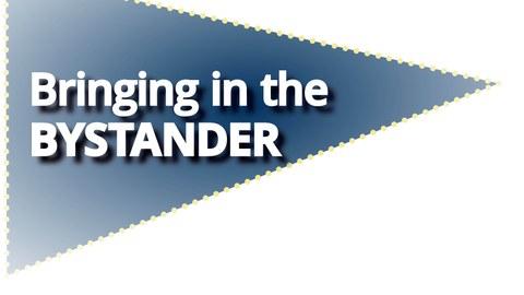 Blaues Dreieck mit der Aufschrift Bringing in the Bystander
