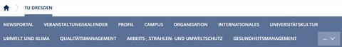 Der Screenshot zeigt einen Ausschnitt der Internetseite der TU Dresden. Es sind die einzelnen Themen unter dem Reiter TU Dresden abgebildet. Diese heißen: Newsportal, Veranstaltungskalender, Profil, Campus, Organisation, Internationales, Universitätskultur, Umwelt und Klima, Qualitätsmanagement, Arbeits-, Strahlen- und Umweltschutz und Gesundheitsmanagement. Rechts neben den Themen ist ein Pfeil mit 3 Punkten, auf den man klicken kann.