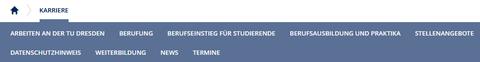 Der Screenshot zeigt einen Ausschnitt der Internetseite der TU Dresden. Es sind die einzelnen Themen unter dem Reiter Karriere abgebildet. Diese heißen: Arbeiten an der TU Dresden, Berufung, Berufseinstieg für Studierende, Berufsausbildung und Praktika, Stellenangebote, Datenschutzhinweis, Weiterbildung, News und Termine.