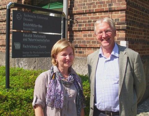 Dr. Evgenia Slyusareva mit Prof. Eychmüller
