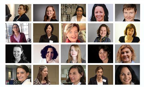 Collage Eleonore-Trefftz-Gastprofessorinnenprogramm - Portraits bisheriger Gastprofessorinnen