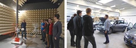 EMV-Kammer zur Überprüfung der elektromagnetischen Verträglichkeit von Systemkomponenten (links) und Halle mit Testfahrzeugen (rechts)