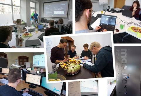 Kollage mit mehreren Fotos, die Studierende in verschiedenen Workshopsituationen zeigen