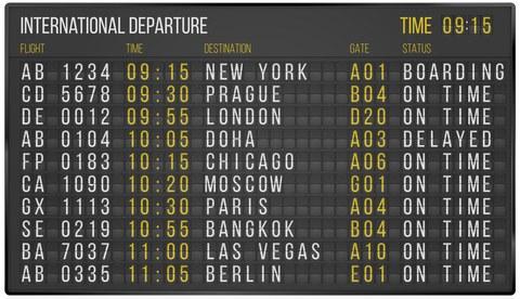 """Flughafen-Anzeigentafel """"International Departures"""""""