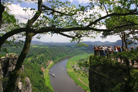 "Panorama view from the ""Bastei"" over the river Elbe in the Saxon Switzerland."