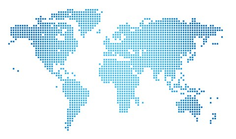 World map in blue dots