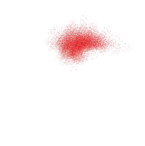Rote Punkte, die sich zu einem Schwarm zusammenfügen.