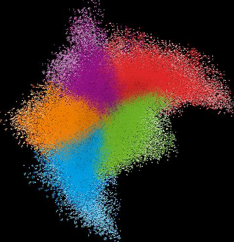 Verschiedenfarbige Punkte fügen sich zu einem Schwarm zusammen. Der Hintergrund ist weiß.