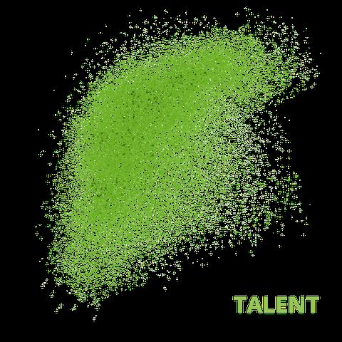 Grüne Punkte, die sich zu einem Schwarm formieren. Der Hintergrund ist weiß. In grüner Schrift steht das Wort Talent neben dem Schwarm.
