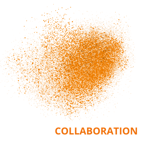 Orangene Punkte, die sich zu einem Schwarm zusammenfügen. Der Hintergrund ist weiss. In oranger Schrift steht das Wort Collaboration neben dem Schwarm.