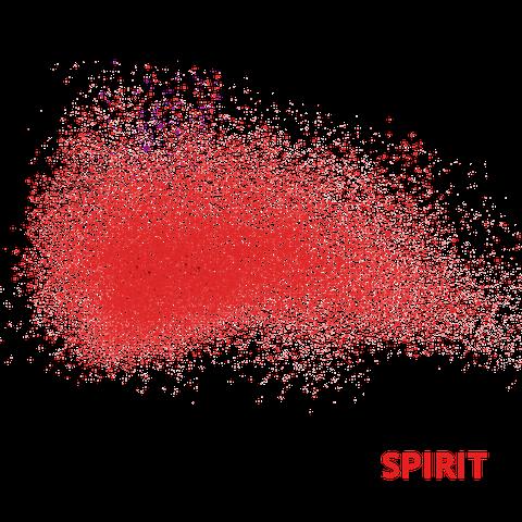 Rote Punkte, die sich zu einem Schwarm zusammenfügen. Der Hintergrund ist weiss. In roter Schrift steht das Wort Spirit neben dem Schwarm.