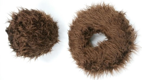 Brown, hairy donuts on white background