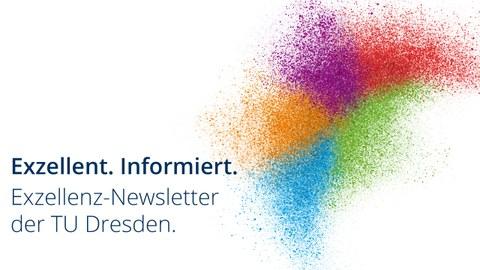 Verschiedenfarbige Punkte fügen sich zu einem Schwarm zusammen. Der Hintergrund ist weiß. Schriftzug links vom Schwarm: Exzellent. Informiert. Exzellenz-Newsletter der TU Dresden.