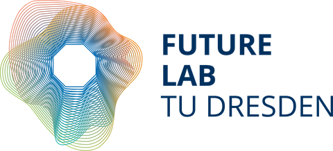 """english Future Lab Logo: in the center, a white octagon. Starting from the octagon outward a multitude of concentric thin lines varying in shape and color. To the right is the lettering """"Future Lab TU Dresden"""""""