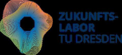 """deutsches Zukunftslabor Logo: in der Mitte ein weißes Achteck, davon ausgehend nach außen eine Vielzahl konzentrischer, in Form und Farbe variierender, dünner Linien. Rechts daneben der Schriftzug """"Zukunfstlabor TU Dresden""""."""