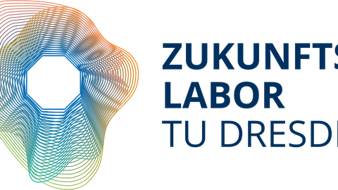 """german Future Lab Logo: in the center, a white octagon. Starting from the octagon outward a multitude of concentric thin lines varying in shape and color. To the right is the lettering """"Zukunftslabor TU Dresden"""""""