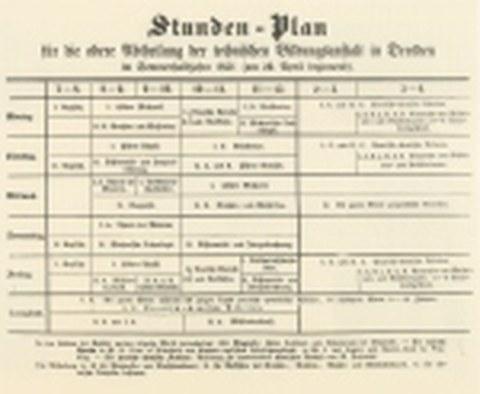 Stundenplan für die obere Abteilung der Techn. Bildungsanstalt