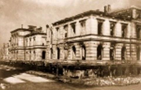 Zerstörtes Rektoratsgebäude der TH Dresden