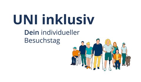 "Schematic diagram. On the left you can see the german headline ""UNI Inklusiv"" and german subtitle ""Dein individueller Besuchstag"", on the right a row of eight people standing next to each other. From left to right these are: Wheelchair user:in; Man; Woman; Man with crutches; Woman with prosthetic leg; Small person with larger person behind; Woman with sunglasses and guide dog."
