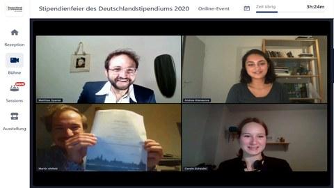Übergabe Urkunde Deutschland-Stipendium 2020
