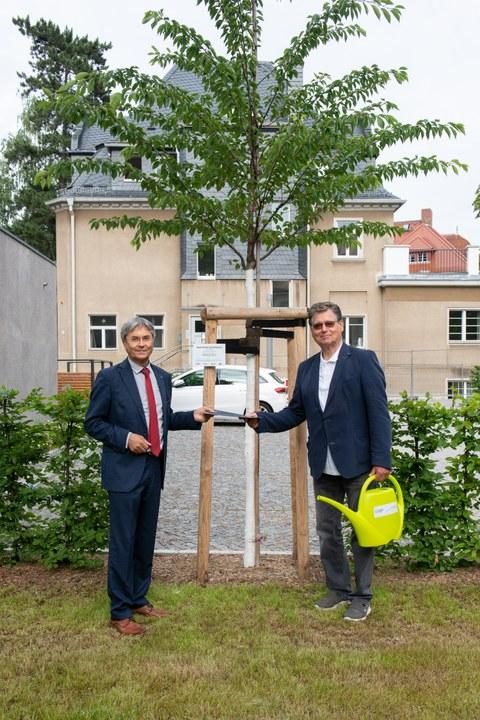 Übergabe Stifterbaum der GFF vor dem Rektorat