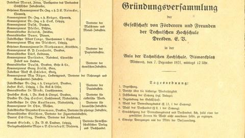 Urkunde der Gründungsversammlung 1921