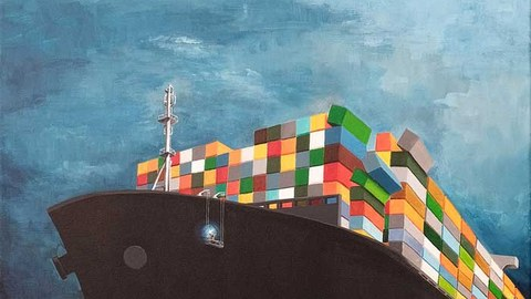 """Poster with container ship and the inscription """"Future"""""""