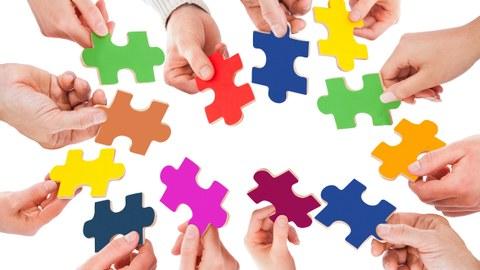 12 Hände ragen ins Bild. Jede Hand hält ein Puzzleteil. Jedes Puzzleteil hat eine andere Farbe.