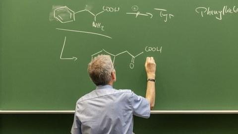 Ein Dozent vor einer Tafel. Er beschreibt diese gerade mit Kreide. Es sind Formeln sichtbar.