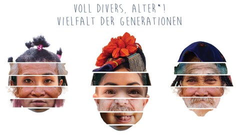 Abgebildet sind nebeneinander 3 Gesichter. Die Gesichter sind zusammengesetzt aus unterschiedlichen Fotos von diversen, verschieden alten Personen. Die Gesichter setzen sich aus 5 Fotos zusammen und bilden Haare, Stirn, Augenpartie, Wangenpartie, Mund und Kinn.