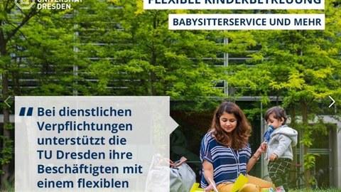 Studentin sitzt mit Kind auf HSZ-Wiese und lernt