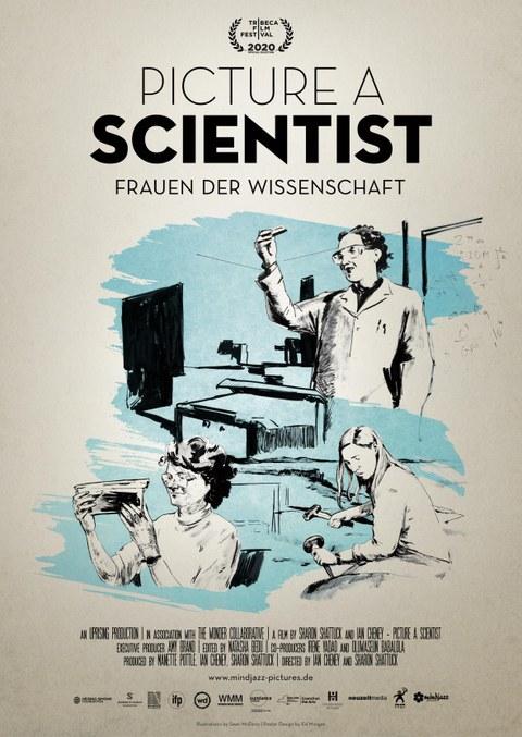 Das Bild zeigt eine  Zeichnung von 3 Wissenschaftlerinnen in ihrem Arbeitsumfeld im Labor, bei der Feldarbeit, am Schreibtisch.