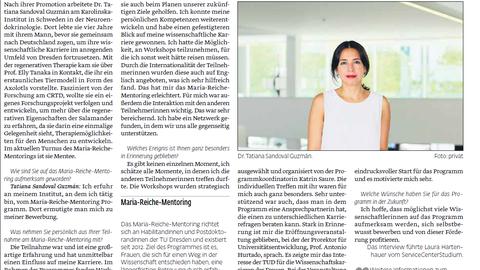Screenshot UJ article on Tatiana Sandoval Guzmán