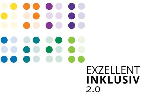 """Braillepunkte in bunten farben stellen das Wort """"inklusiv"""" dar. Rechts darunter in Schwarzschrift Exzellent Inklusiv 2.0"""