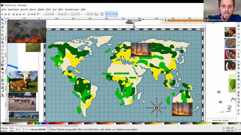 Das Bild zeigt einen Screenshot der Zoom-Vorlesung von Dr. Benjamin Leon Bodirsky. Er ist oben links zu sehen. Den Großteil des Bildes nimmt eine Weltkarte ein, auf der einige Ursachen des Klimawanldes zu sehen sind (Waldbrände, Rinderhaltung).