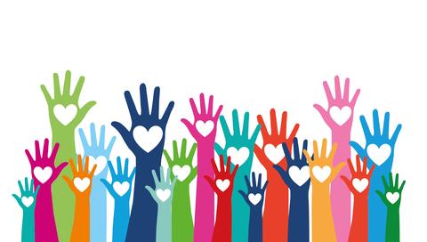 Grafik vieler bunter Hände, die in der Mitte ein Herz haben