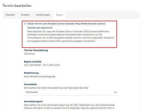 Screenshot aus dem WebCMS - Termin in Dresden Science Calendar exportieren