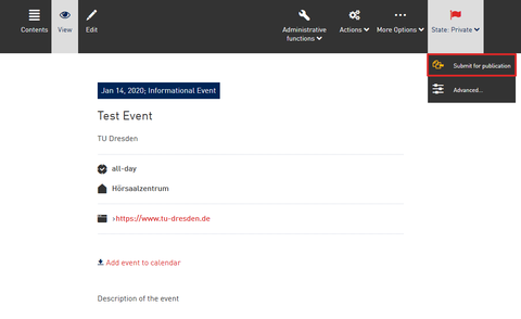 Screenshot from the WebCMS - Changing the state of an event