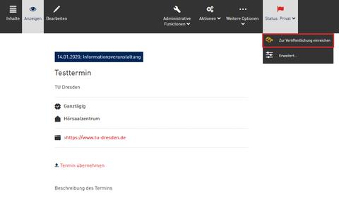 Screenshot aus dem WebCMS - Statusänderung eines Termins